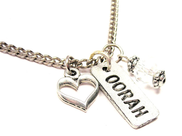 Oorah Tab Necklace with Small Heart