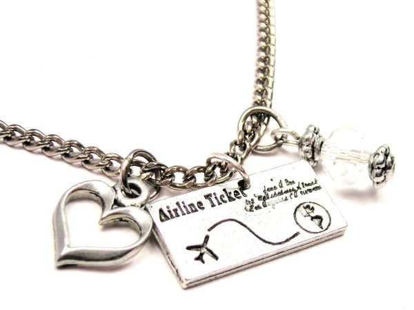 Airline Ticket Necklace with Small Heart
