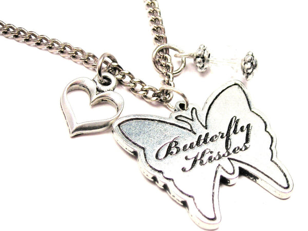 Butterfly Kisses Butterfly Necklace with Small Heart