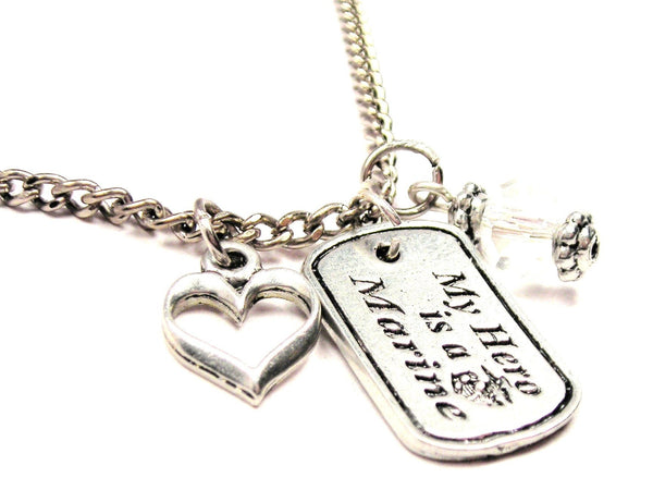 My Hero Is A Marine Necklace with Small Heart