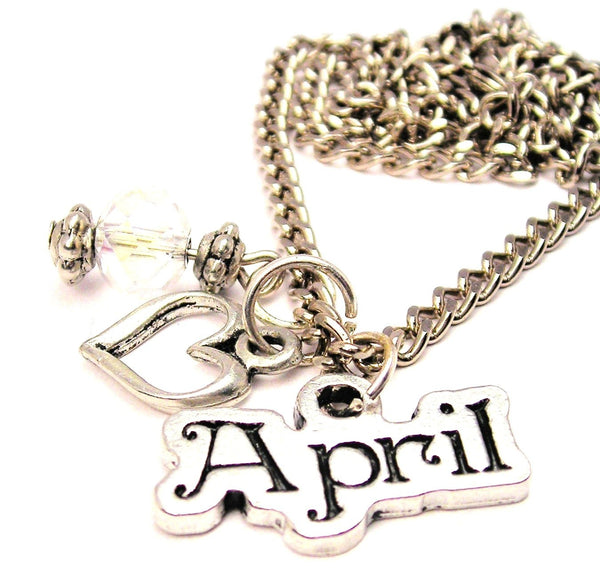 April Outlined Necklace with Small Heart