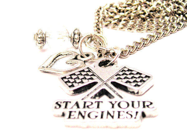 Start Your Engines With Crossed Race Flags Necklace with Small Heart