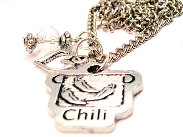 Chili Pot Necklace with Small Heart