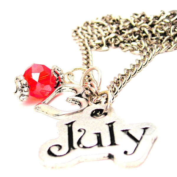 July Outlined Necklace with Small Heart