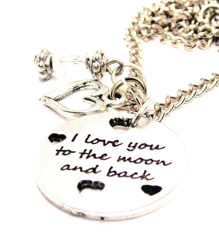 I Love You To The Moon And Back With Hearts Necklace with Small Heart