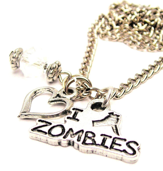 I Stab Zombies Necklace with Small Heart