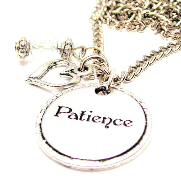 Patience Circle Necklace with Small Heart