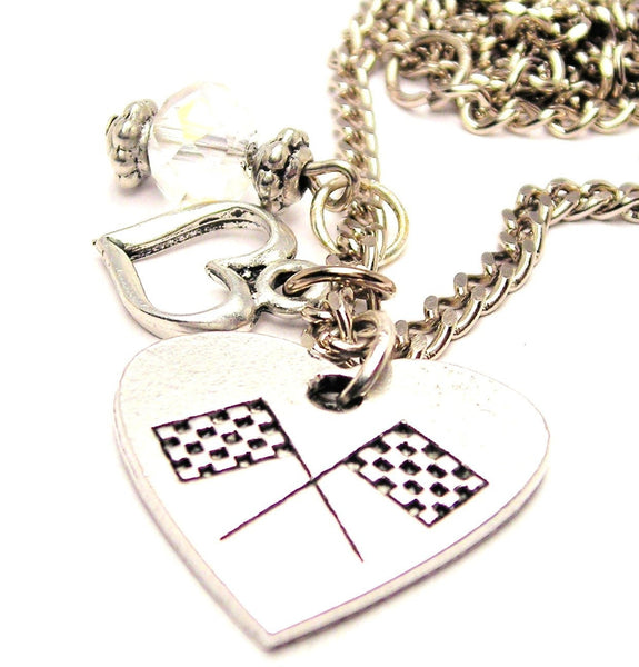 Crossed Race Flags In A Heart Necklace with Small Heart