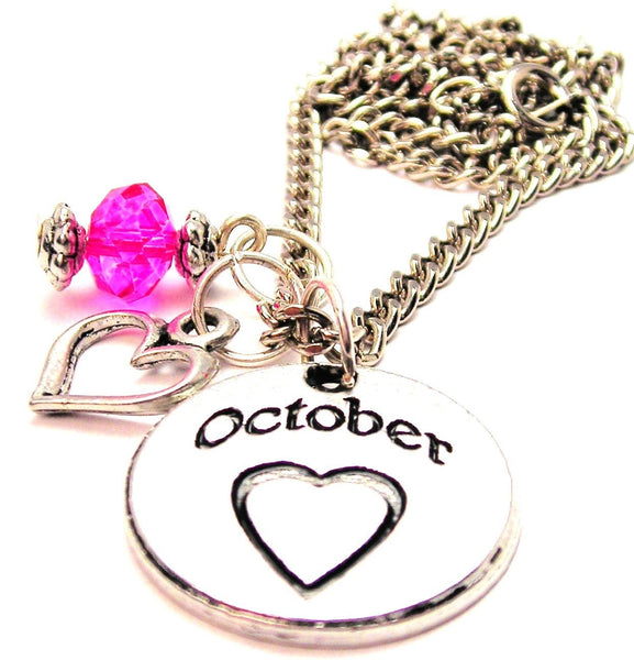 October Circle Necklace with Small Heart