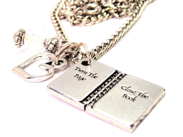 Turn The Page Close The Book Necklace with Small Heart