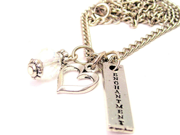 Enchantment Long Tab Necklace with Small Heart