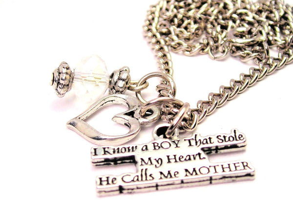 I Know A Boy That Stole My Heart He Calls Me Mother Necklace with Small Heart