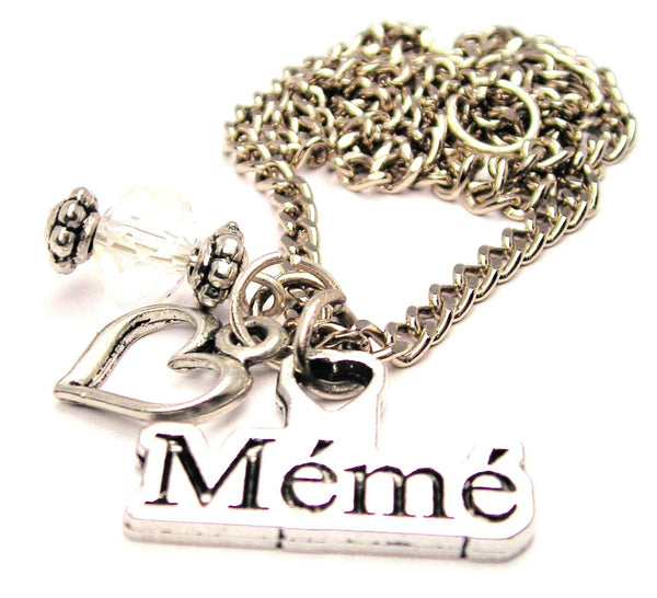 Meme Grandmother In French Necklace with Small Heart