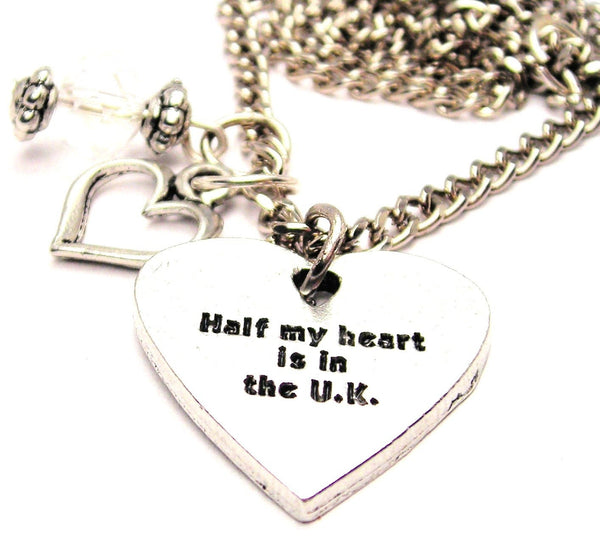 Half My Heart Is In The Uk Necklace with Small Heart