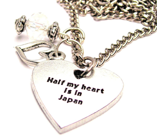Half My Heart Is In Japan Necklace with Small Heart