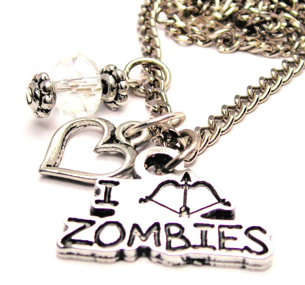 I Shoot Zombies Bow And Arrow Style Necklace with Small Heart