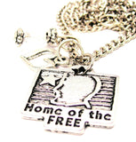 Home Of The Free Necklace with Small Heart