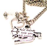 Real Friends Help You Kill Zombies Necklace with Small Heart