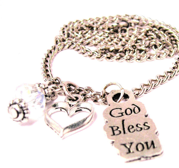 God Bless You Necklace with Small Heart