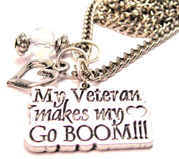 My Veteran Makes My Heart Go Boom Necklace with Small Heart