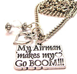 My Airman Makes My Heart Go Boom Necklace with Small Heart