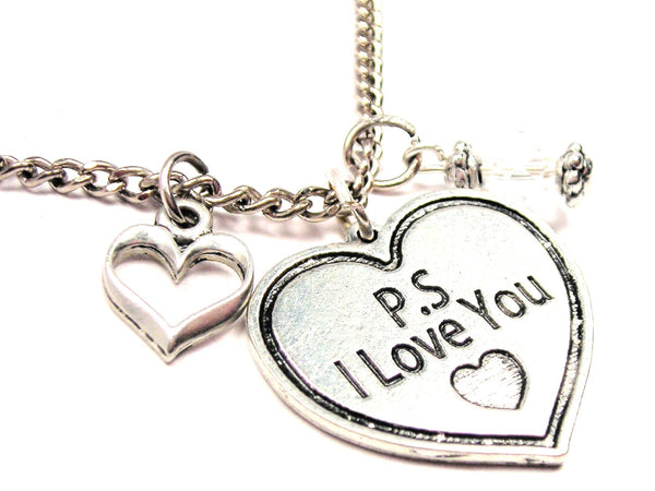 Ps I Love You Heart Necklace with Small Heart
