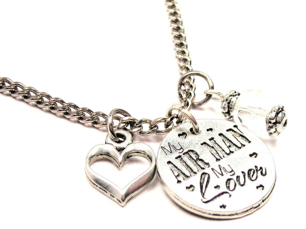 My Air Man My Lover Necklace with Small Heart