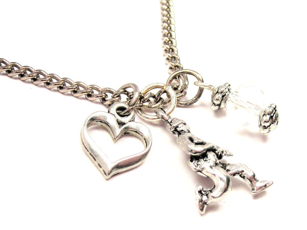 Running Soldier Necklace with Small Heart