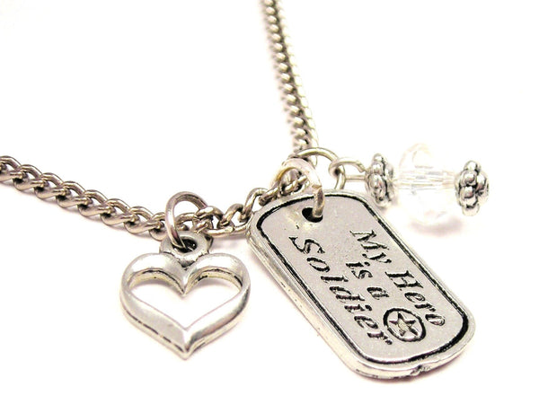 My Hero Is A Soldier Necklace with Small Heart