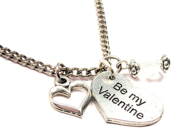 Be My Valentine Heart Necklace with Small Heart