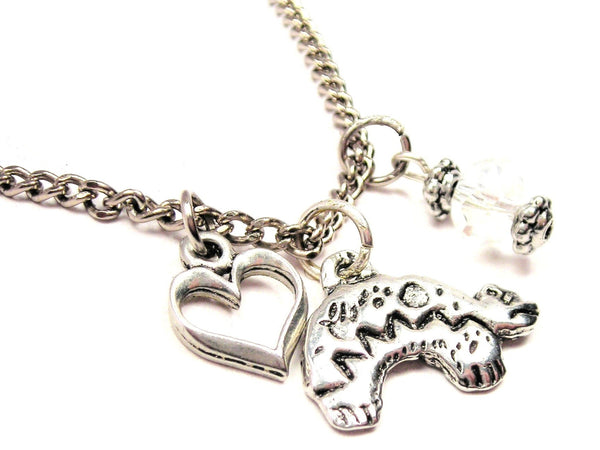 Heartline Bear Necklace with Small Heart
