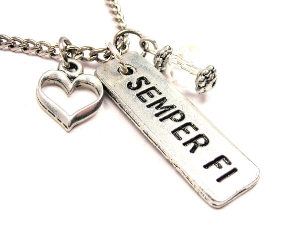 Semper Fi Tab Necklace with Small Heart