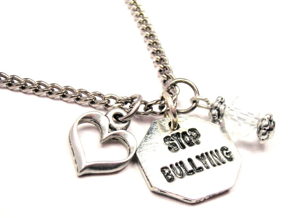 Stop Bullying Necklace with Small Heart