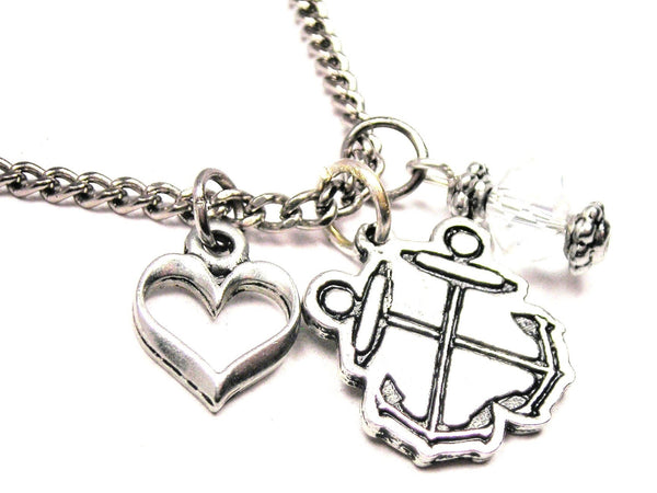 Boatswain Crossed Anchors Necklace with Small Heart