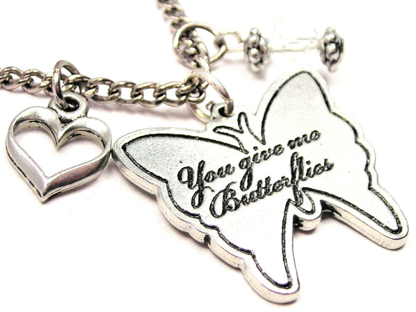 You Give Me Butterflies Butterfly Necklace with Small Heart