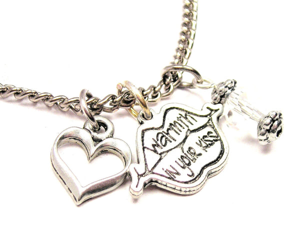 Warmth In Your Kiss Lips Necklace with Small Heart