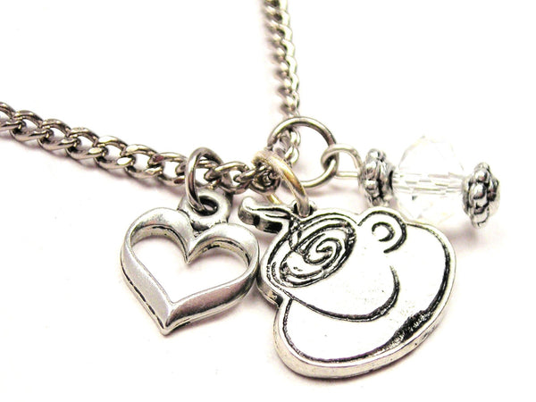 Steaming Hot Coffee Necklace with Small Heart