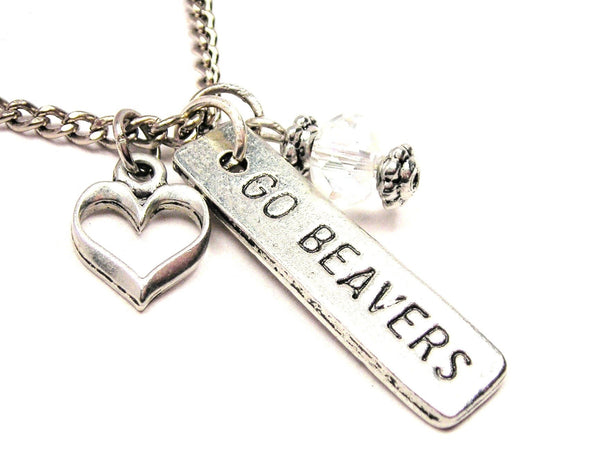 Go Beavers Tab Necklace with Small Heart
