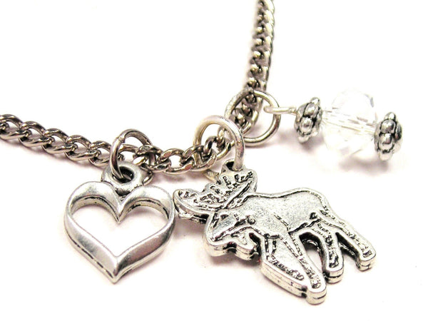 Moose Necklace with Small Heart