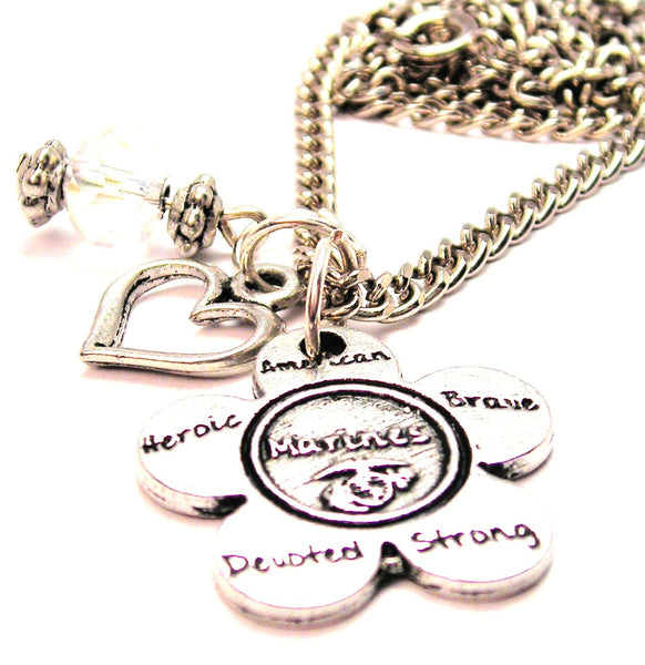 The Marines Flower Small Necklace with Small Heart