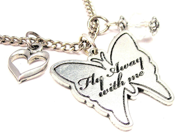 Fly Away With Me Butterfly Necklace with Small Heart