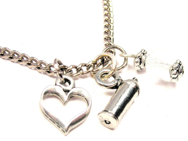Spray Paint Can Necklace with Small Heart