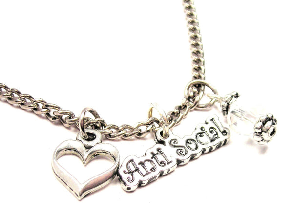 Anti Social Necklace with Small Heart