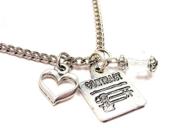 Contract Document Necklace with Small Heart