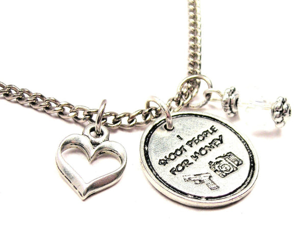 I Shoot People For Money Photography Necklace with Small Heart