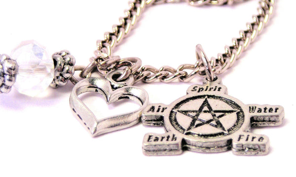 Natures Elements Pentacle Necklace with Small Heart