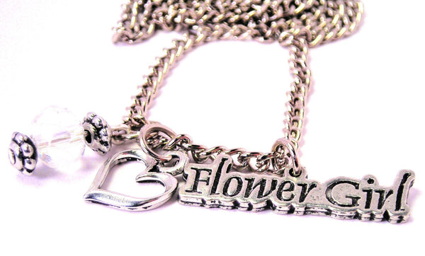 Flower Girl Necklace with Small Heart