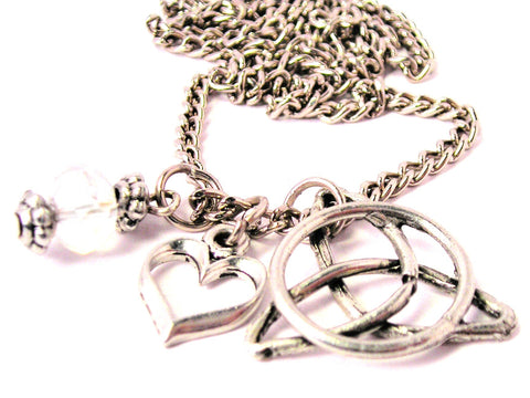 Trinity Symbol Necklace with Small Heart