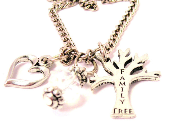 Family Tree Necklace with Small Heart