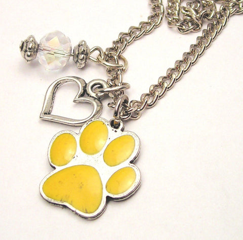 Hand Painted Paw Print Red Necklace with Small Heart